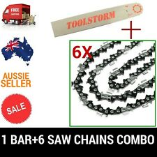 """12"""" BAR & 6 CHAINS COMBO 3/8""""LP 050 45DL FOR OZITO CHAINSAW OZPCS305A 25.4CC"""
