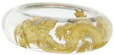 ZSISKA Dragon Resin Bangle.  Clear resin and 24kt Goldleaf inlay.