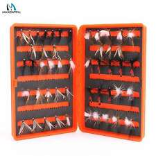 Maxcatch 50 Dry Trout Flies In Box Orange With Slit Foam For Fly Fishing