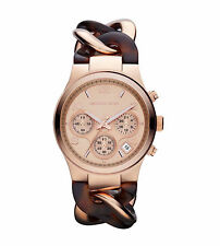 Michael Kors MK4269 Runway Twist Tortoise Acetate Rose Gold 34MM NEW AUTHENTIC