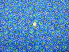 Quilting Fabric Turquoise Blue Flowers with Yellow 100% Cotton Fat Quarter