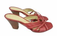 CLARKS Sandals Size 4 Red Slip On Shoes Mid Heel Strappy