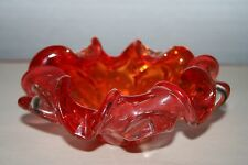Murano Red, Orange & Clear Art Glass Ruffled Bowl Ashtray Controlled Bubbles