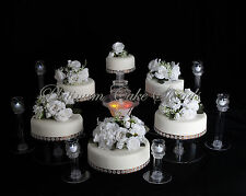 6 TIER CASCADE WEDDING CAKE STAND W/FOUNTAIN & 6 VOTIVE SET (STYLE # 123)