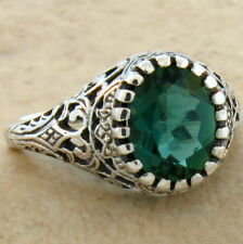 1.6 CT SIM EMERALD ANTIQUE FILIGREE STYLE 925 STERLING SILVER RING SZ 8.75,#631