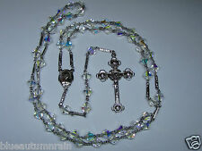 "† UNIQUE VINTAGE STERLING SACRED HEART AB CLEAR BICONE ROSARY ETCHED LINKS 26"" †"