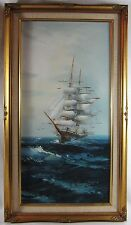 Vintage Ocean Clipper Masted Sailing Ship Nautical Seascape Painting Frame 28""