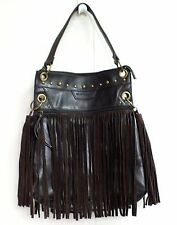 BCBG Shoulder Bag Brown Leather Purse Extra Large Fringe Studded Cowboy Hobo