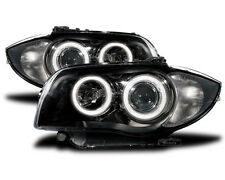 black finish LED Angel Eye headlights for BMW 1 E81 E82 E87 E88 04-11