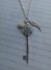 "A large Key, Angel Wing Tibetan Silver, Rose Charm Pendant, 30"" Chain Necklace"