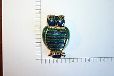 Brooch Pin - Large Owl Bird - Green Blue Enamel - Rhinestones - Gold Tone