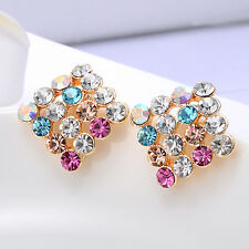 Multi-Color Square Clip On Stud Earrings Fashion Jewelry Womens Earings