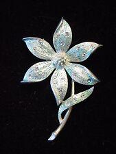 """SALE ~ """"JJ"""" Jonette Jewelry Pewter BEAUTIFUL Blue Crystal Flower Pin ~ DAMAGED"""