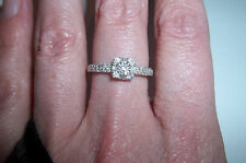 10k White Gold Diamond Halo ring Engagement .20 ct tw size 7