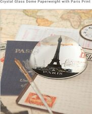 CRYSTAL DOME GLASS VINTAGE PARIS EIFFEL TOWER PRINT PAPERWEIGHT NEW