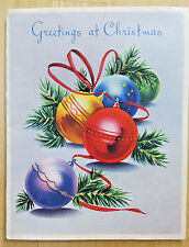 GLISTENING TREE BALLS VINTAGE PRE 1950 SIGNED CHRISTMAS HOLIDAY CARD ARTISTIC