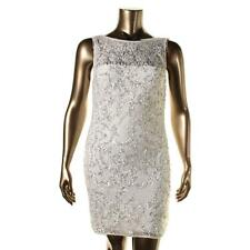 Aidan Mattox 4446 Womens Ivory Lace Embellished Party Cocktail Dress 14 BHFO