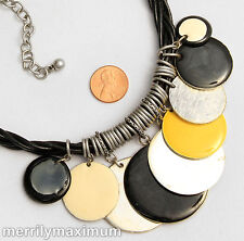 Chico's Signed Necklace Silver Tone Black Yellow Ivory Color Enamel Disks