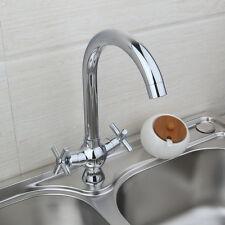 Chromé Double poignée pont montage pivotant robinet évier mélangeurs de cuisine