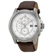 Tommy Hilfiger Multi-Function White Dial Brown Leather Mens Watch 1710294