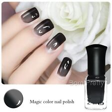 6ml Thermal Nail Polish Color Changing Peel Off Nail Art Varnish Black to Grey