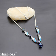 Hermosa Xmas Sale 925 Sterling Silver Australian Opal Sapphire Necklaces 21""