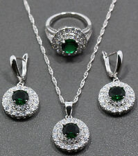 Womens Necklace Ring Earrings Emerald Stone CZ 925 Silver Jewelry Set Gift