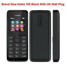BRAND NEW NOKIA 105 SIM FREE MOBILE PHONE DUST & SPLASH PROOF BLACK CHEAP UK