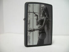Zippo Windproof Lighter Sexy Blonde In Lingerie Black Matte 2013 NEW