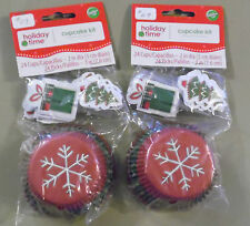 2 Packs of 24 Very Cute Wilton Christmas Cupcake Holders with Picks (x-7)