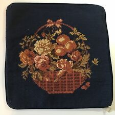 Beautiful Vintage Handmade Needlepoint Pillow Case