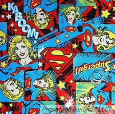 BonEful Fabric FQ Cotton Super*Girl Super Hero DC Comic Book Marvel US Patchwork