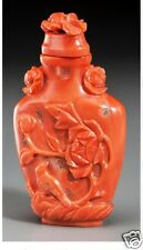 Antique Chinese red coral with Bird & Flower Motifs snuff bottle,19th Century