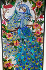 """MAJESTIC PEACOCK HAND-CRAFTED MAGNOLIAS LOTUS 23x35"""" STAINED GLASS WINDOW PANEL"""