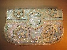 LA REGALE Vintage Elegant Evening Bag Hand Iridescent Sequins Faux Pearl Beads