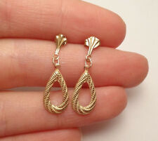 14K SOLID YELLOW GOLD TEARDROP DANGLE  DELICATE DAINTY EARRINGS