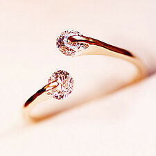 1x Delicate Women Rose Gold Crystal Rhinestone Bridal Engagement Ring Adjustable