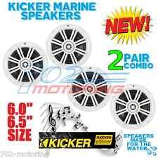 2 PAIRS OF KICKER KM6204W KM6204W BKM60 BKM604W MARINE & BOAT SPEAKERS 6.5 INCH