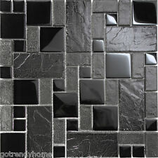 Sample Black Stone Glass Blend Pattern Mosaic Tile Kitchen Backsplash Faucet Spa