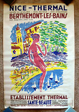 Vintage Original 1950s FRANCE Nice Travel Poster Train airline air modern art