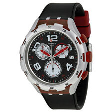 Swatch Red Wheel Chronograph Black Dial Black Silicone Mens Wartch YYS4004