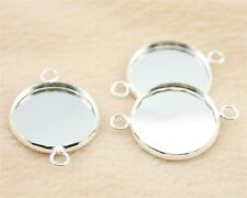 10 x Silver Plated Round Cabochon Pendant Blank Bezel Setting, Tray Size 18mm
