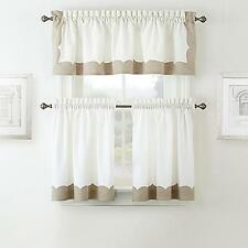 WATERFORD LINENS CASSIA POLE TOP DRAPE CURTAIN PAIR 30x36-WHITE/SILVER-NATURAL