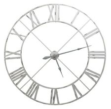 Extra Large 110cm Off White/Pale Grey Metal Roman Numeral Wall Clock Limited Qty