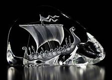 Mats Jonasson Crystal Viking Ship Sculpture/Statue/Figurine 33760 - Brand New!