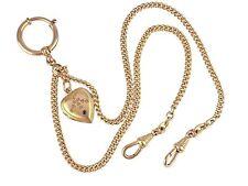 Jugendstil Gold Doublé Charnier Taschenuhren Kette Saphir Herz Friedrich Speidel