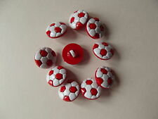 10 x RED/WHITE NOVELTY FOOTBALL SHAPED BUTTONS size 24L (15mm)