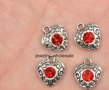 10pcs red Tibetan Silver Charm Pendants Crystal Rhinestone Heart 11x10mm