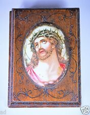 Antique Hand Made Pyrographic Book Picture Frame Letter Bill Holder Christ 1910
