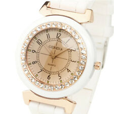 Geneva White Women's Rhinestone Silicone Rubber Strap Band Quartz Wrist Watch